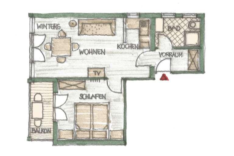 Grundriss Wohnung 3 - © www.gruenerbaum-weissensee.at