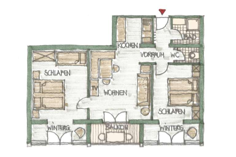 Grundriss Wohnung 4 - © www.gruenerbaum-weissensee.at