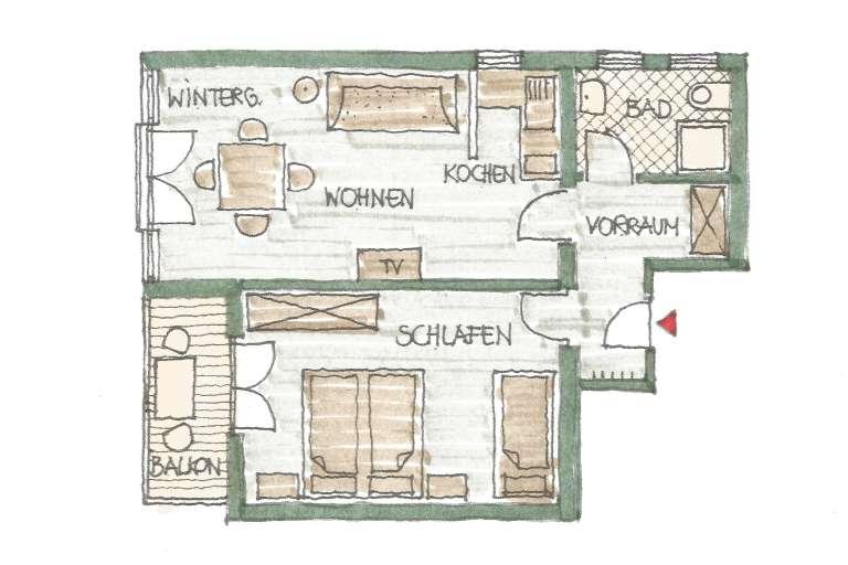 Grundriss Wohnung 5 - © www.gruenerbaum-weissensee.at
